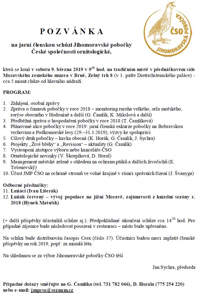 Pozvánka na členskou schůzi Jihomoravské pobočky 9.3.2019