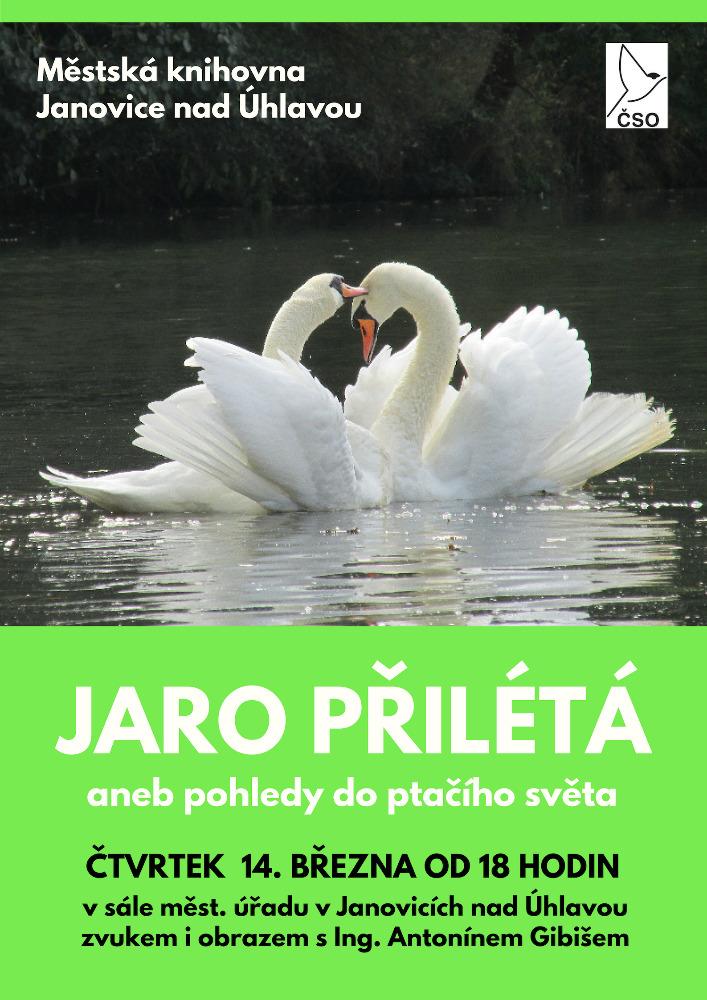 pozvánka na přednášku o ptácích v Janovicích nad Úhlavou