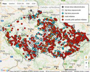 Mapa čápi 2017