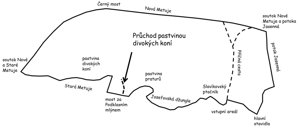 schematicka mapa ohrad a pruchodu pastvinou koni na JL